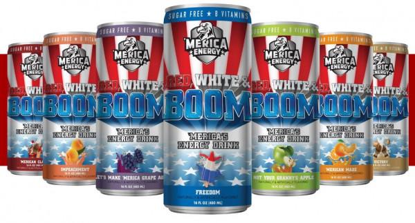 MERICA ENERGY RED, WHITE, BOOM 'MERICA'S ENERGY DRINK 480ML FREEDOM