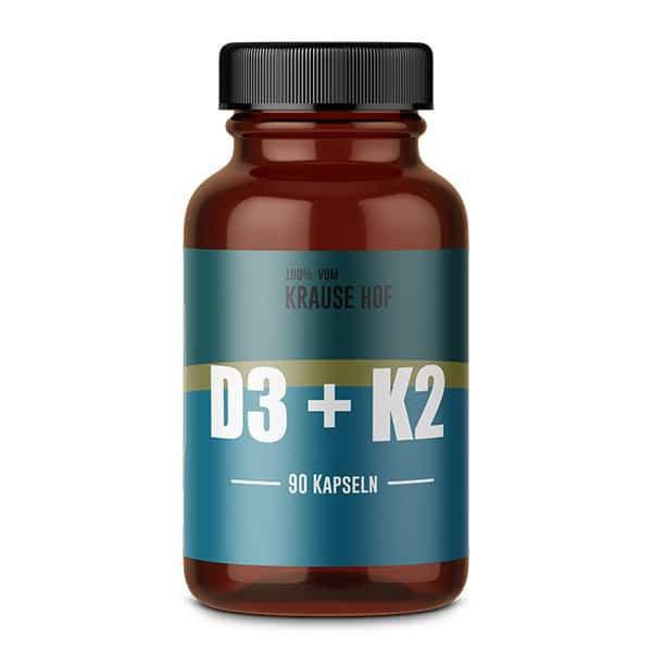 Vitamin D3+K2 (90 Kapseln), Krause Hof