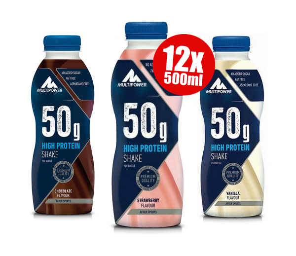 12 x 500ml - 50g High Protein Shake, Multipower